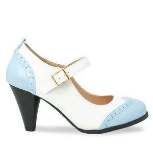 Women's Blue/White Two Tone Mary Jane Retro Pump